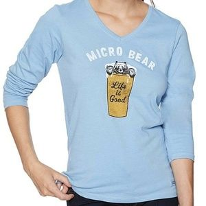 NWT Life Is Good Blue Crusher Tee Micro Bear Tee S